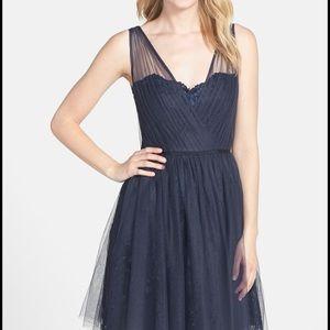 Monique Lhuillier tulle overlay lace dress